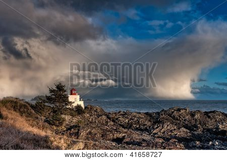 Lighthouse Along Rocky Shore With Storm Clouds In Distance
