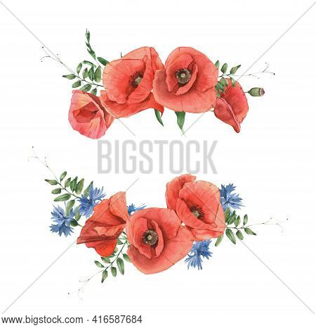 Watercolor Hand Drawn Bouquet Of Poppies, Cornflowers And Herbs. Perfect For Invitation And Social M