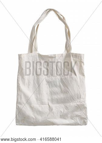 Fabric Bag Crumpled Dusty Dirty (with Clipping Path) Isolated On White Background