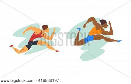 Track And Field Athletes In Action Set, Male Sprinters Runners, Marathon Race, Sport Competitions Ca