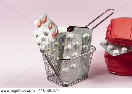 Medicine And Pill Blisters Concept In A Basket To Shop