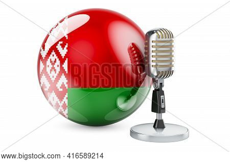 Music Of Belarus Concept. Retro Microphone With Belarusian Flag. 3d Rendering Isolated On White Back