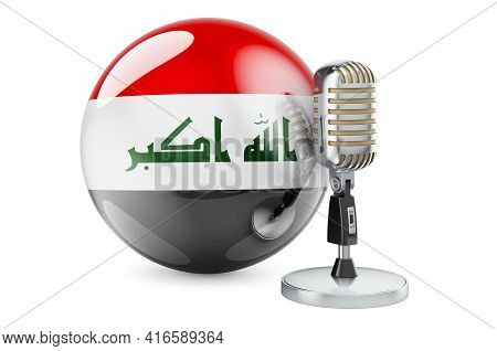 Music Of Iraq Concept. Retro Microphone With Iraqi Flag. 3d Rendering Isolated On White Background