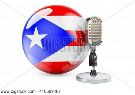 Music Of Puerto Rico Concept. Retro Microphone With Puerto Rican Flag. 3d Rendering Isolated On Whit