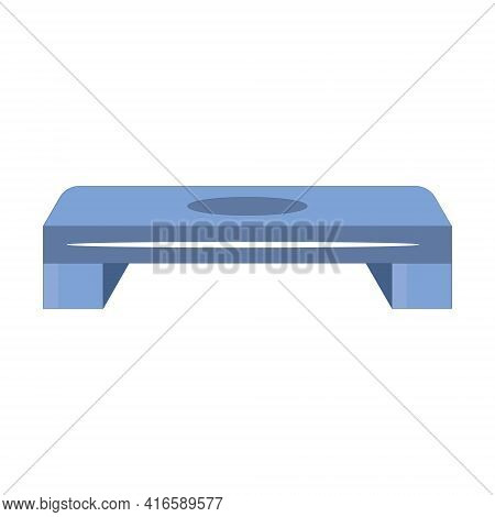 Blue And Orange Plastic Step-platform For Aerobics, Vector Illustration On White Background Side Vie
