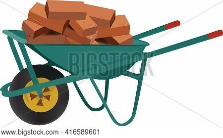 Wheelbarrow Transports Bricks For Construction Wheelbarrow Transports Bricks For Construction