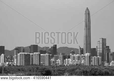 Skyline Of Downtown Of Shenzhen City, China. Viewed From Hong Kong Border