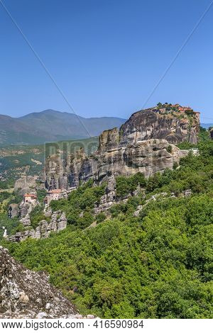 View Of Rocls And Monastery In Meteora, Greece