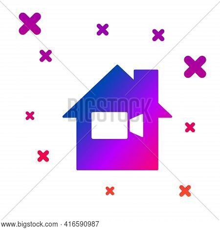 Color Video Camera Off In Home Icon Isolated On White Background. No Video. Gradient Random Dynamic