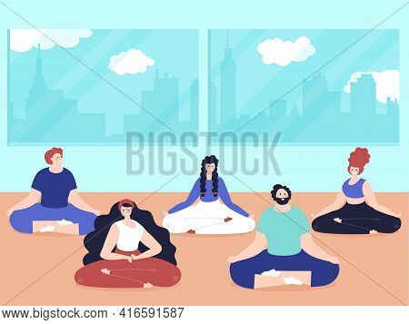 Meditation People. Relaxation Room, Breathing Yoga Exercises Class. Flat Adults Meditate In Home, De