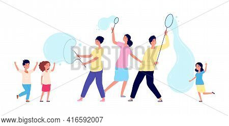 Soap Bubbles Show. Children Party, Huge Bubble And Joyful Kids. Artists Perform For Boys Girls Carto