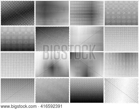 Halftone Dots Texture Set. Grainy Textures, Dot Gradient Pattern. Textured Circles Background, Black