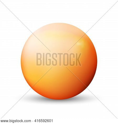 Glass Orange Ball Or Precious Pearl. Glossy Realistic Ball, 3d Abstract Vector Illustration Highligh
