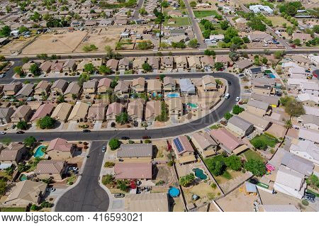 Aerial View Of Residential District At Suburban With Mixed New Development A Avondale Near Phoenix A