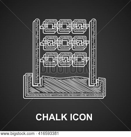 Chalk Tic Tac Toe Game Icon Isolated On Black Background. Vector