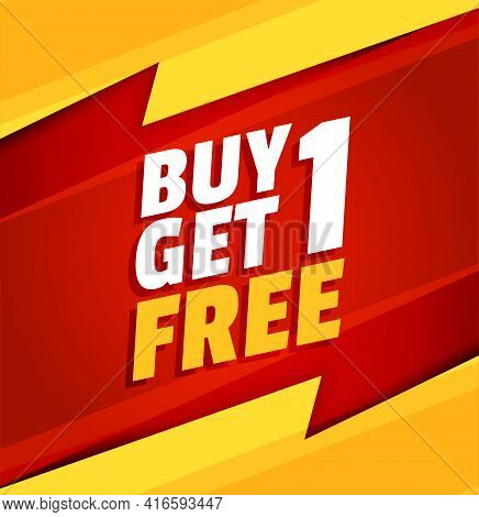 Buy One Get One Free Red And Yellow Sale Background
