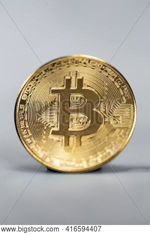 Bitcoin Cryptocurrency,stock Market Concept. Macro Shot, Gold Virtual Money, Technology, Business, T