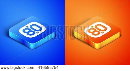 Isometric 80s Retro Icon Isolated On Blue And Orange Background. Eighties Poster. Square Button. Vec