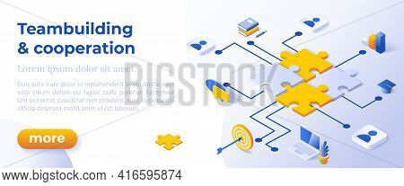 Teambuilding And Cooperation - Isometric Design In Trendy Colors Isometrical Icons On Blue Backgroun