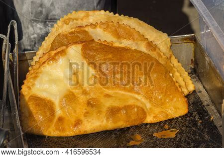 Yummy Chebureki  -  Deep-fried Turnover With A Filling Of Minced Meat And Onions, Street Food In Dni