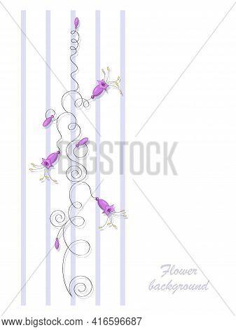 Purple Bells. Vector Flowers Bells On The Stem. Bells. Bouquet Of Wild Flowers. Flower Design.