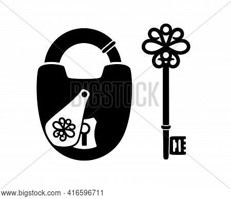 Silhouettes Of Antique Key And Padlock. Cartoon Medieval Objects For Access Of House, Vector Illustr