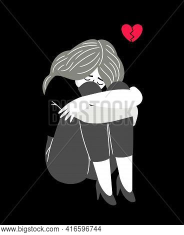 Woman With Broken Heart. Cartoon Young Lady With Feeling Of Sadness, Concept Of Anxiety And Melancho