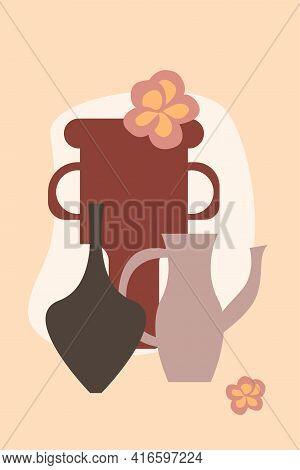 Leaf In Vase Pattern Background, Abstract Boho Minimalist Vase Illustration For Design Nursery Wall