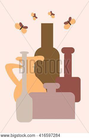 Vase Pattern Background, Abstract Boho Minimalist Vase Illustration For Design Nursery Wall Decor, T