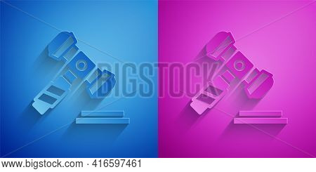 Paper Cut Judge Gavel Icon Isolated On Blue And Purple Background. Gavel For Adjudication Of Sentenc
