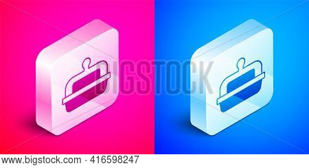 Isometric Butter In A Butter Dish Icon Isolated On Pink And Blue Background. Butter Brick On Plate.