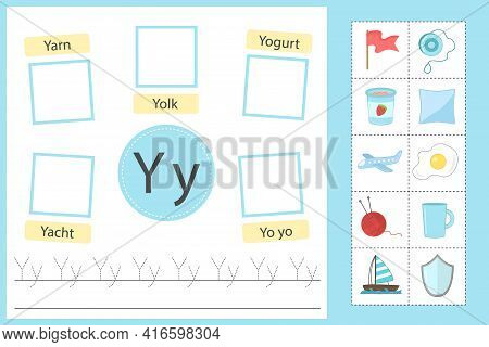 Alphabet Tracing Worksheet For Preschool And Kindergarten. Writing Practice Letter Y. Exercises With