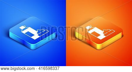 Isometric Whipped Cream In An Aerosol Can Icon Isolated On Blue And Orange Background. Sweet Dairy P