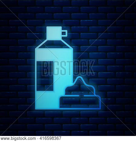 Glowing Neon Whipped Cream In An Aerosol Can Icon Isolated On Brick Wall Background. Sweet Dairy Pro
