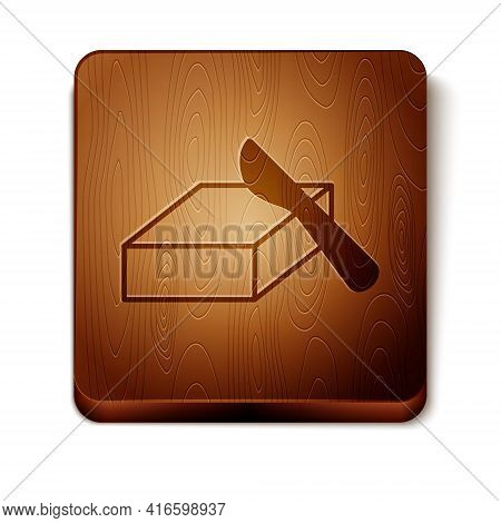 Brown Butter In A Butter Dish Icon Isolated On White Background. Butter Brick On Plate. Milk Based P