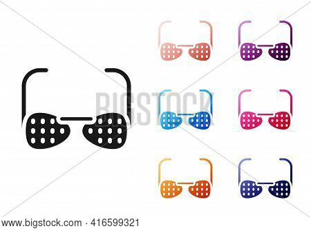 Black Glasses For The Blind And Visually Impaired Icon Isolated On White Background. Set Icons Color