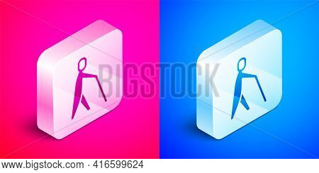 Isometric Blind Human Holding Stick Icon Isolated On Pink And Blue Background. Disabled Human With B
