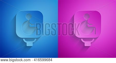 Paper Cut Disabled Wheelchair Icon Isolated On Blue And Purple Background. Disabled Handicap Sign. P