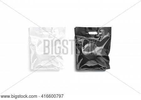 Blank Black And White Die-cut Small Plastic Bag Mockup, Isolated, 3d Rendering. Empty Polyethylene P