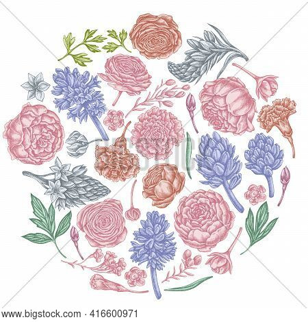 Round Floral Design With Pastel Peony, Carnation, Ranunculus, Wax Flower, Ornithogalum, Hyacinth Sto