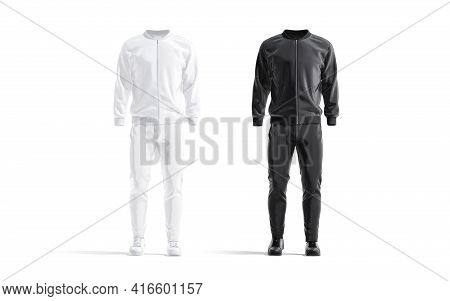 Blank Black And White Sport Tracksuit With Bomber, Pants Mockup, 3d Rendering. Empty Gym Outwear For