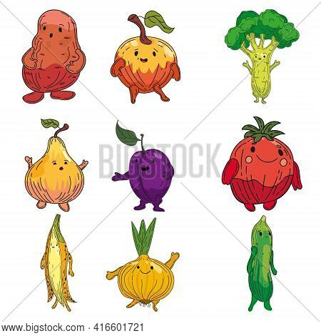 Vegetables Set Hand Drawn Scetch Characters Cartoon. Collection Potato, Onion, Plum, Pear, Cucmber,