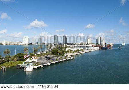 The View Of Miami Main Channel, The Port And Miami Beach Skyline In A Background (florida).