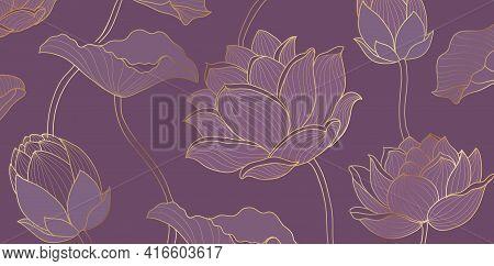 Golden Lotus Purple Background Vector. Tropical Flower Design, Lotus Leaves Line Arts For Wallpape,