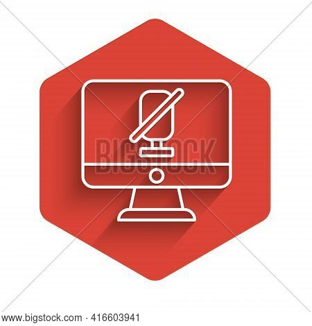 White Line Mute Microphone On Computer Icon Isolated With Long Shadow. Microphone Audio Muted. Red H