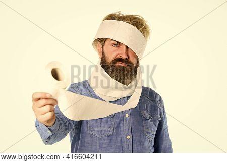 Man Hold Toilet Paper. Prevent Toilet Paper Hoarding. Shortage Of Goods. Coronavirus Toilet Paper Sh