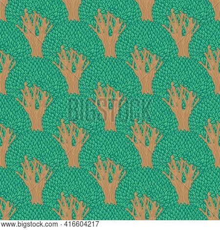 Vector Seamless Pattern With Deciduous Trees. Colored Repeating Background With Forest Plants In A F