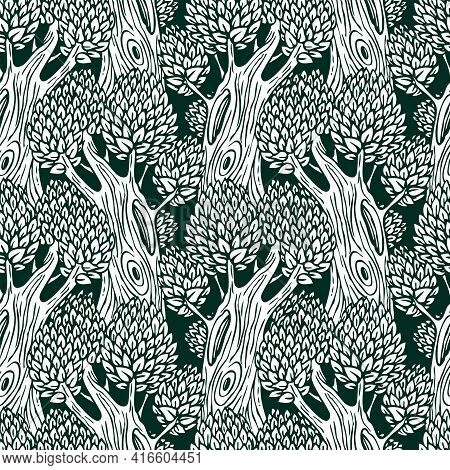Vector Seamless Pattern With Old Deciduous Trees. Black And White Repeating Background With Dense Fo