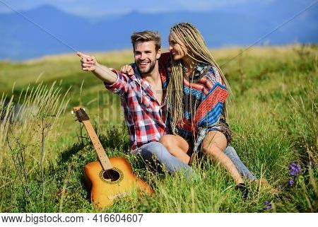 Couple Happy Cuddling Nature Background. Romantic Hike. Family Hike. Boyfriend And Girlfriend With G
