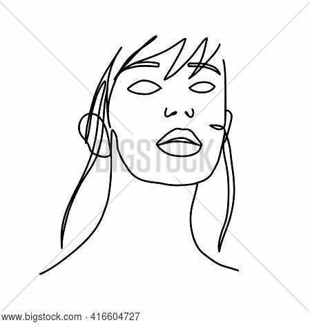 One Line Woman Minimal Fashion Portrait. Minimal Design, Freehand Composition, Modern Abstract Style